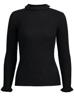 Ruffle Collar Plain Ribbed Knitwear - Black