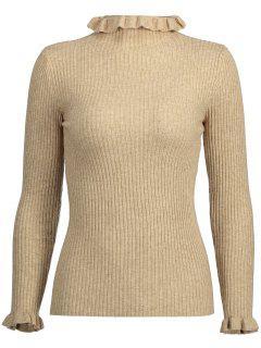 Ruffle Collar Plain Ribbed Knitwear - Light Khaki