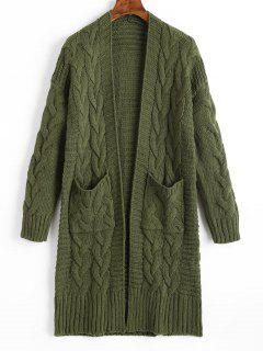 Cable Knit Longline Cardigan With Pockets - Army Green