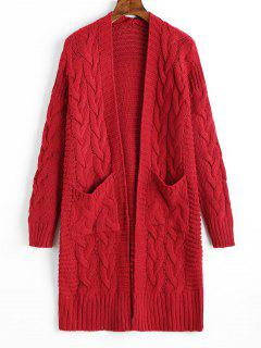 Cable Knit Longline Cardigan With Pockets - Deep Red