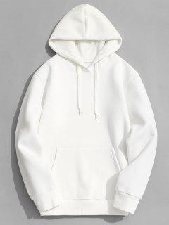 Fleece Lining Kangaroo Pocket Hoodie - White M