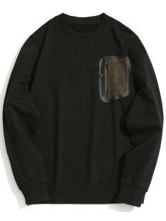 Zippered Pocket Crew Neck Sweatshirt - Black Xl