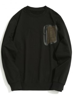Zippered Pocket Crew Neck Sweatshirt - Black L