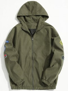 Hooded Patch Design Jacket - Green Xl
