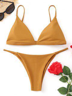 Conjunto De Bikini De Cadena De Tanga De Cami - Mostaza M