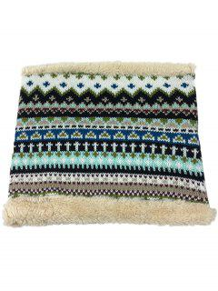Outdoor Ethnic Style Thicken Knitted Eternity Scarf - Stone Blue