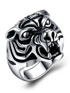 Gothic Style Tiger Carved Titanium Steel Ring - Black 8