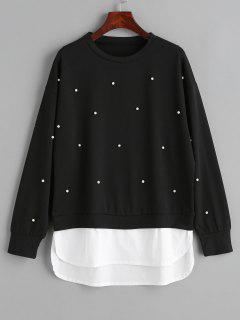 Two Tone Panel Faux Pearls Sweatshirt - Black S