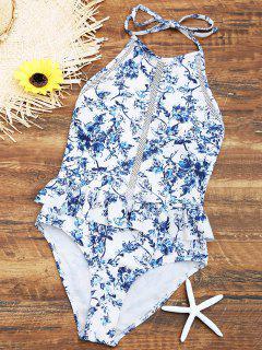 Traje De Baño De Cuello Alto Con Volantes Florales Crochet - Blanco S