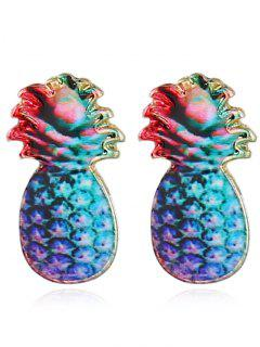 Cute Pineapple Fruit Tiny Stud Earrings - Blue