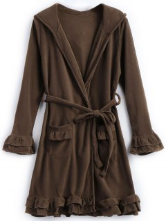 Robe De Nuit à Capuche En Laine Et à Volant - Café