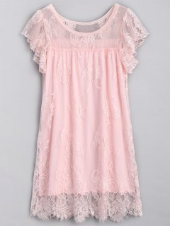 Scalloped Lace Nightdress - Pink