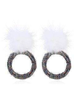 Circle Fuzzy Ball Front Back Earrings - White