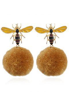 Fuzzy Ball Honeybee Earrings - Yellow