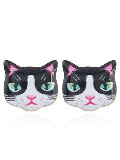Cute Kitten Stud Tiny Earrings - White And Black