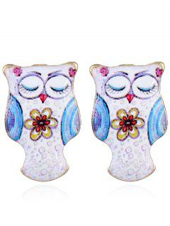 Owl Stud Tiny Earrings - Blue And White