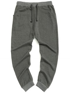 Casual Drawstring Pants - Gray Xl