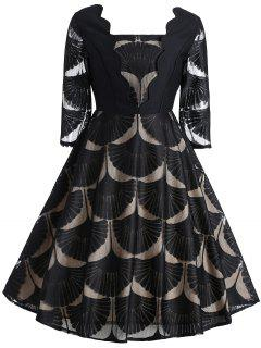 Vintage Square Neck Scalloped Ginkgo Lace Dress - Black S