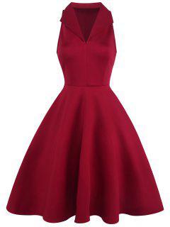 Vestido De Solapa Sin Mangas De La Vendimia - Rojo 2xl