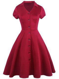 Robe Vintage à Col En V à Boutons Décoratifs - Rouge 2xl