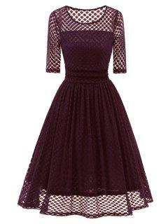 Polka Dot Flare Party Vintage Dress - Red Xl