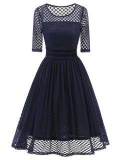 Robe De Soiré Vintage Évasée à Pois à Manches 1/2 - Bleu S