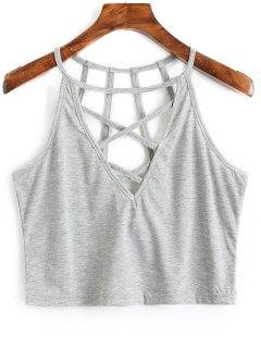 Camiseta Sin Mangas Con Tirantes Cruzados De Criss Cross - Gris L