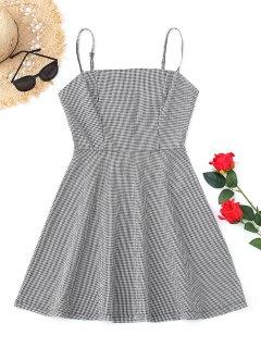 Back Zip Checked Mini Dress - Black S
