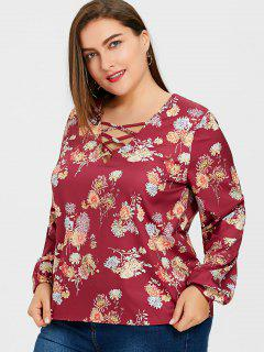 Floral Plus Size Strappy Tunic Blouse - Floral 3xl