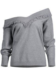 Pullover Tassels Off Shoulder Sweater - Gray L
