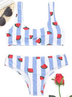 Watermelon Striped Bikini Set - Blue And White M