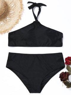 Halter Mesh Panel Plus Size Bikini Set - Black 2xl