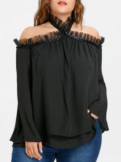Blusa De Chifón Con Volantes Y Cuello Redondo - Negro 5xl