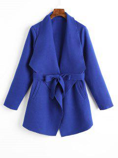 Plain Belted Coat With Pockets - Blue M