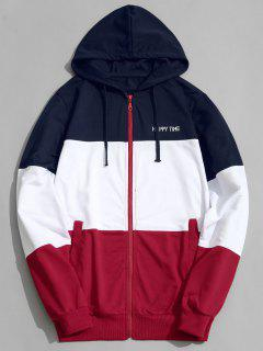 Color Block Zip Up Hoodie Men Clothes - L