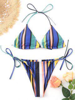 Striped Color Block String Bikini Set - M