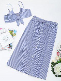 Tied Cami Top And Striped Skirt Set - Blue M