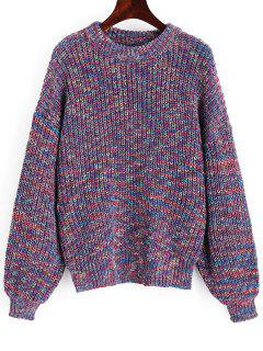 Lantern Sleeve Multicolored Chunky Sweater - Multicolor