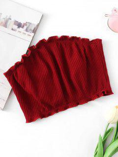 Knitted Ribbed Tube Top - Wine Red