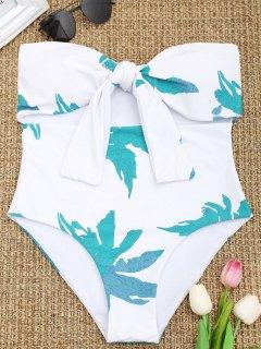 Knoten-Blatt-trägerloser Badeanzug - Weiß S