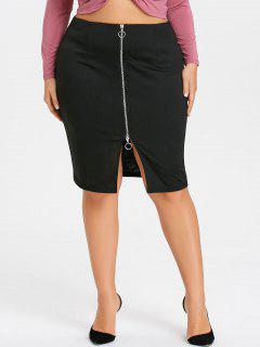 Plus Size Zippered Pencil Skirt - Black 3xl