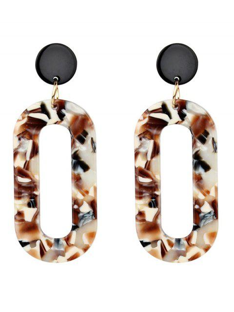 trendy Acrylic Oval Vintage Drop Earrings - BROWN  Mobile