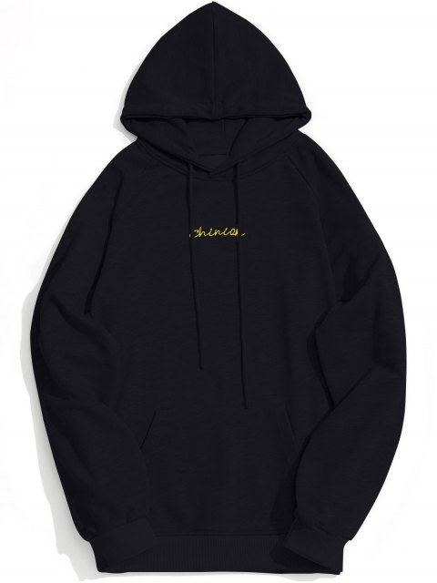 unique Kangaroo Pocket Chinion Graphic Hoodie - BLACK L Mobile