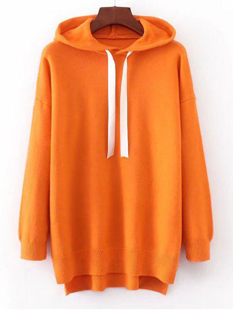 buy Contrast Drawstring Hooded Sweater - MANDARIN ONE SIZE Mobile