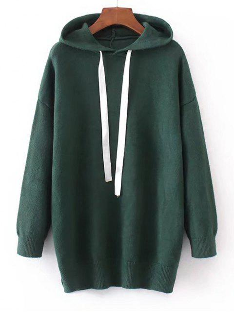 women Contrast Drawstring Hooded Sweater - DEEP GREEN ONE SIZE Mobile