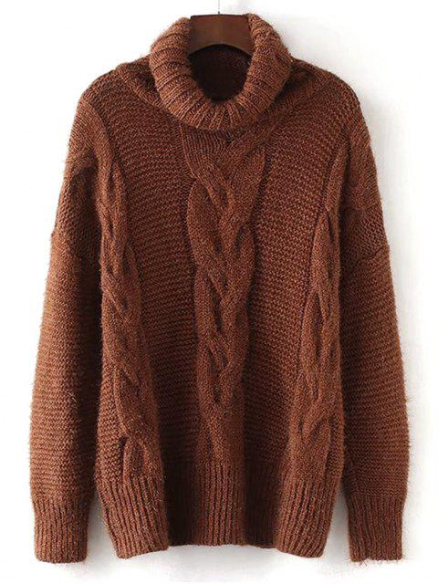 best Textured Turtleneck Cable Knit Sweater - BROWN ONE SIZE Mobile