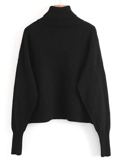outfits Pullover Turtleneck Sweater with Pockets - BLACK ONE SIZE Mobile