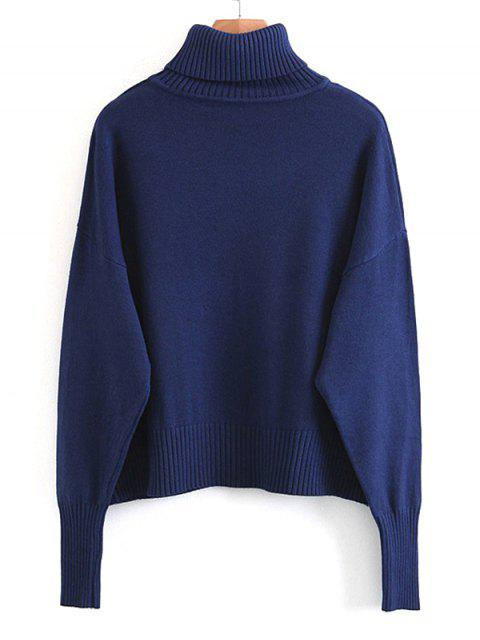 shops Pullover Turtleneck Sweater with Pockets - DEEP BLUE ONE SIZE Mobile