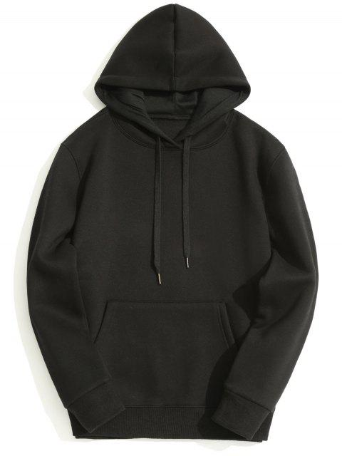 fancy Fleece Lining Kangaroo Pocket Hoodie - BLACK M Mobile