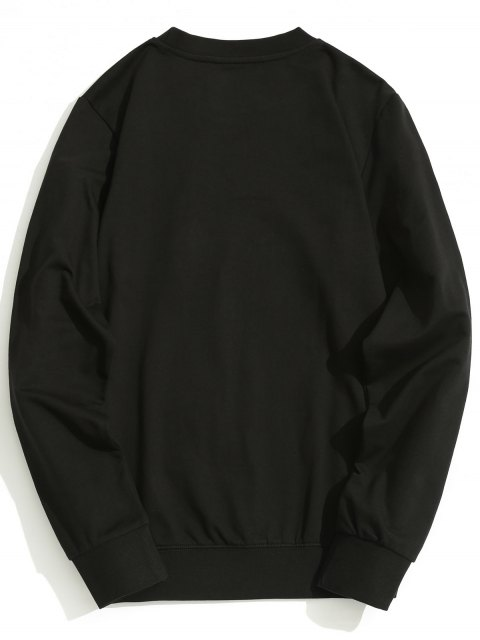sale Zippered Pocket Crew Neck Sweatshirt - BLACK XL Mobile